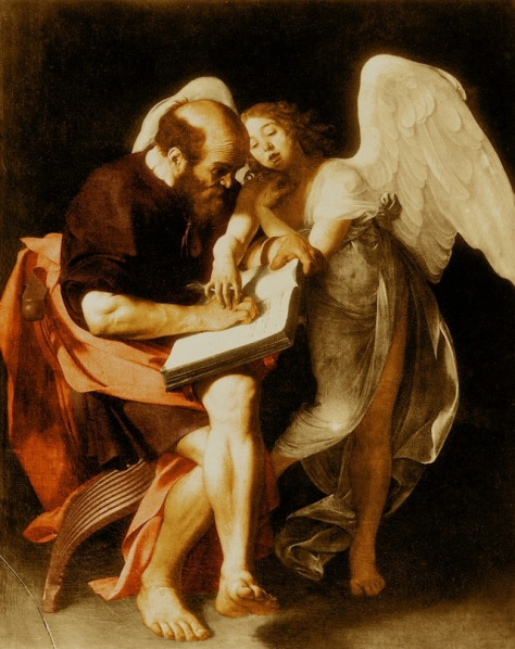 Saint Matthew and the Angel, painted for the Contarelli Chapel in the church of San Luigi die Francesi in Rome by Caravaggio around 1602, destroyed in 1945 with 416 other works of art in the Friedrichshain Flakturm.
