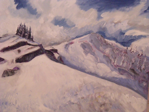 """Snowy Summit"", acrylic on canvas, 16"" x 20"", Eliza Ayres, 2015."